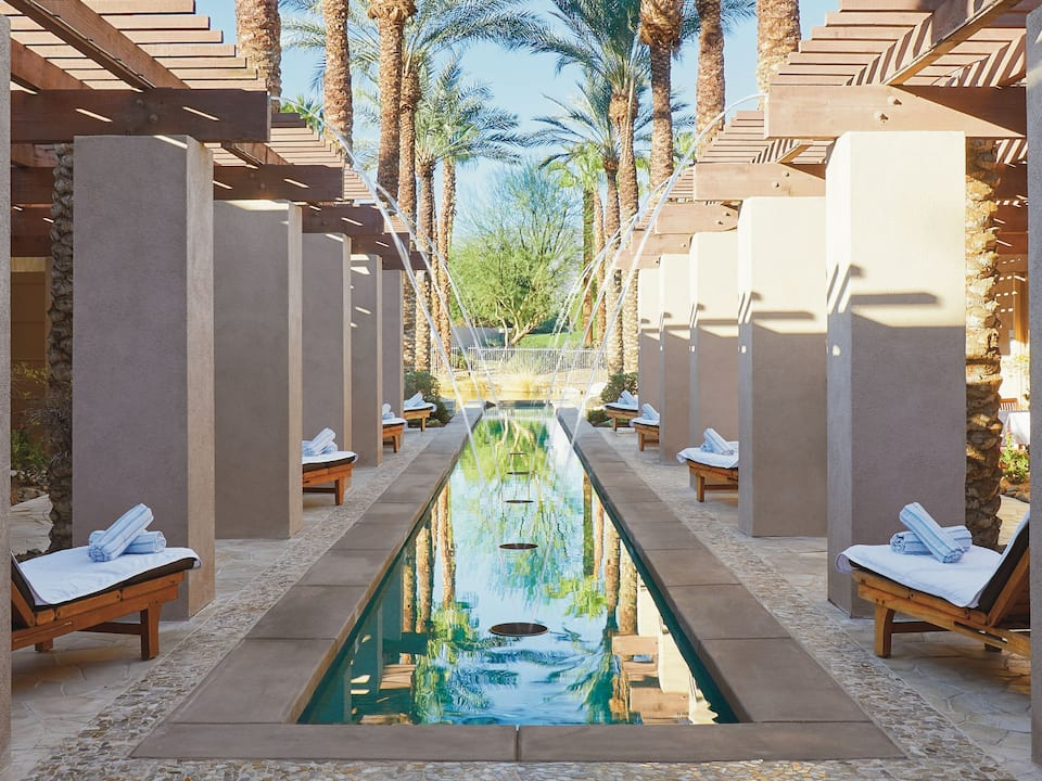 Outdoor lounging pool located at Agua Serena Spa inside of Hyatt Regency Indian Wells Resort & Spa