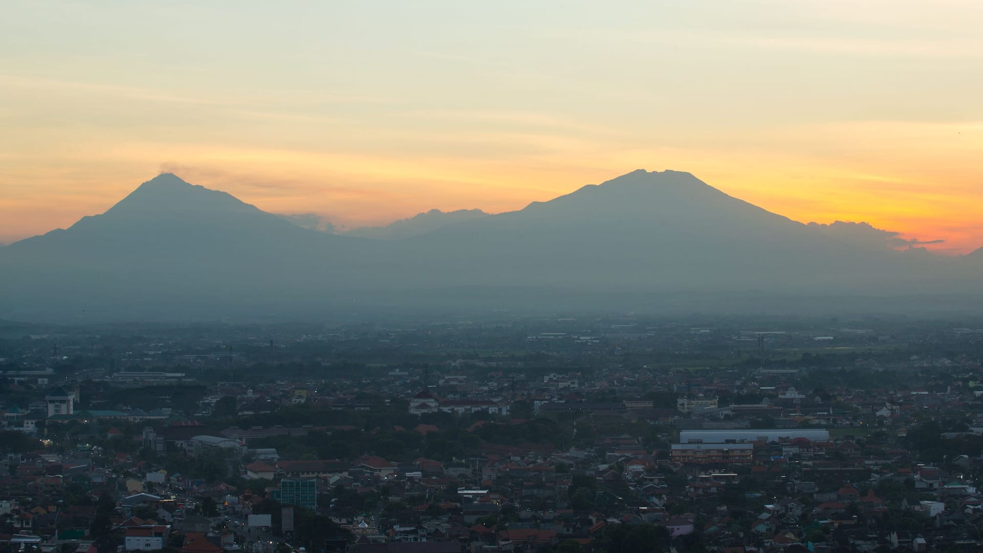 View of Mount Merapi and Mount Merbabu