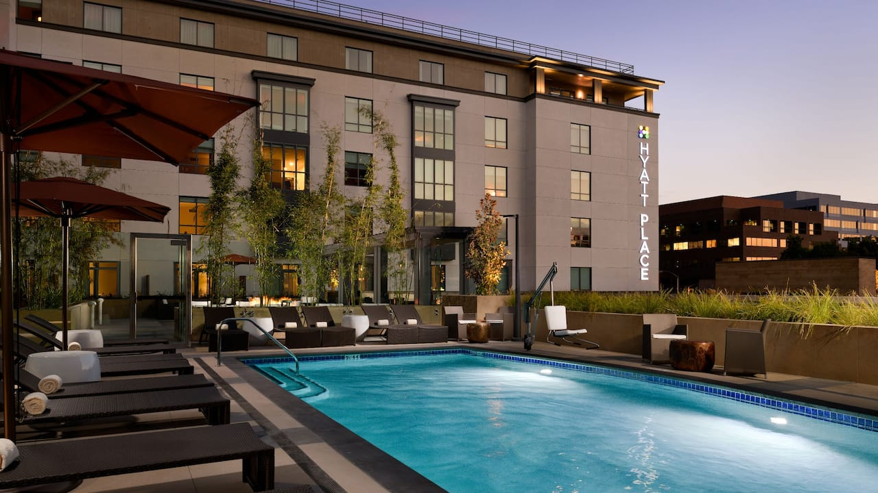 Outdoor Pool at Night at Hyatt Place Pasadena