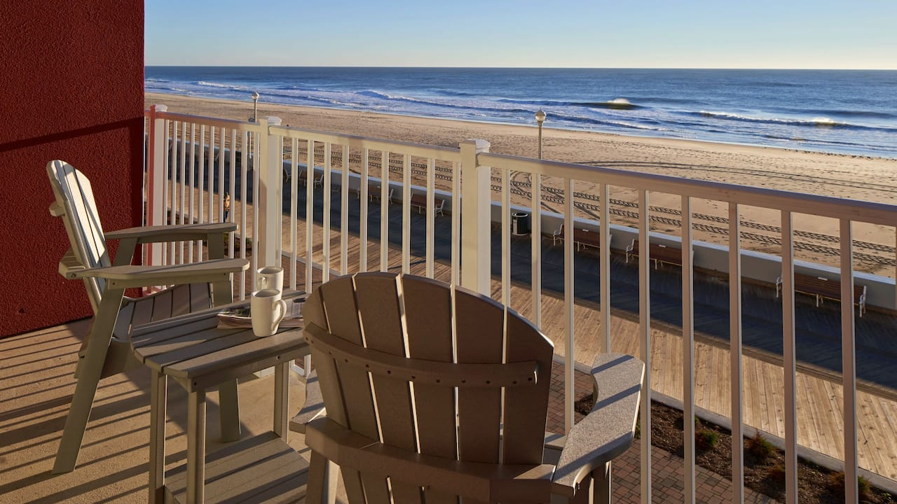 Hyatt Place Ocean City Oceanfront Guest Room Balcony with Chairs Overlooking Ocean