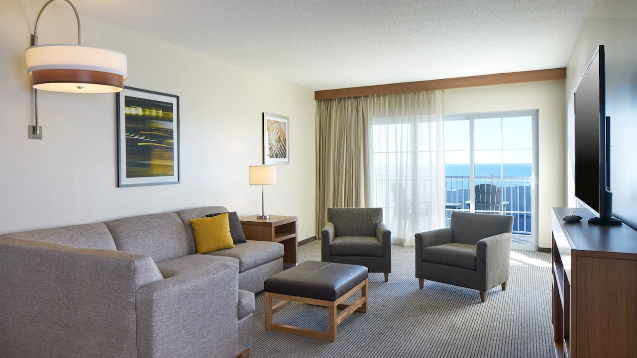 Hyatt Place Ocean City Oceanfront One Bedroom King Suite with Balcony and Living Area