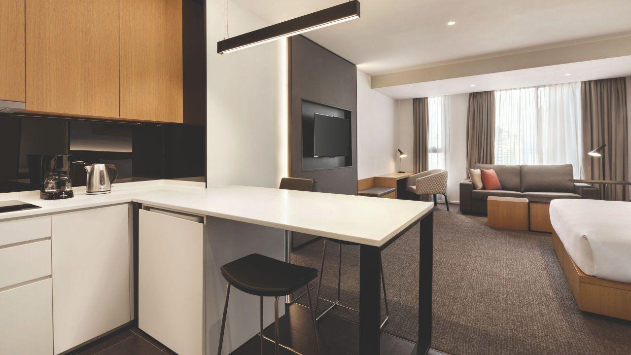 king bedroom suite with kitchen