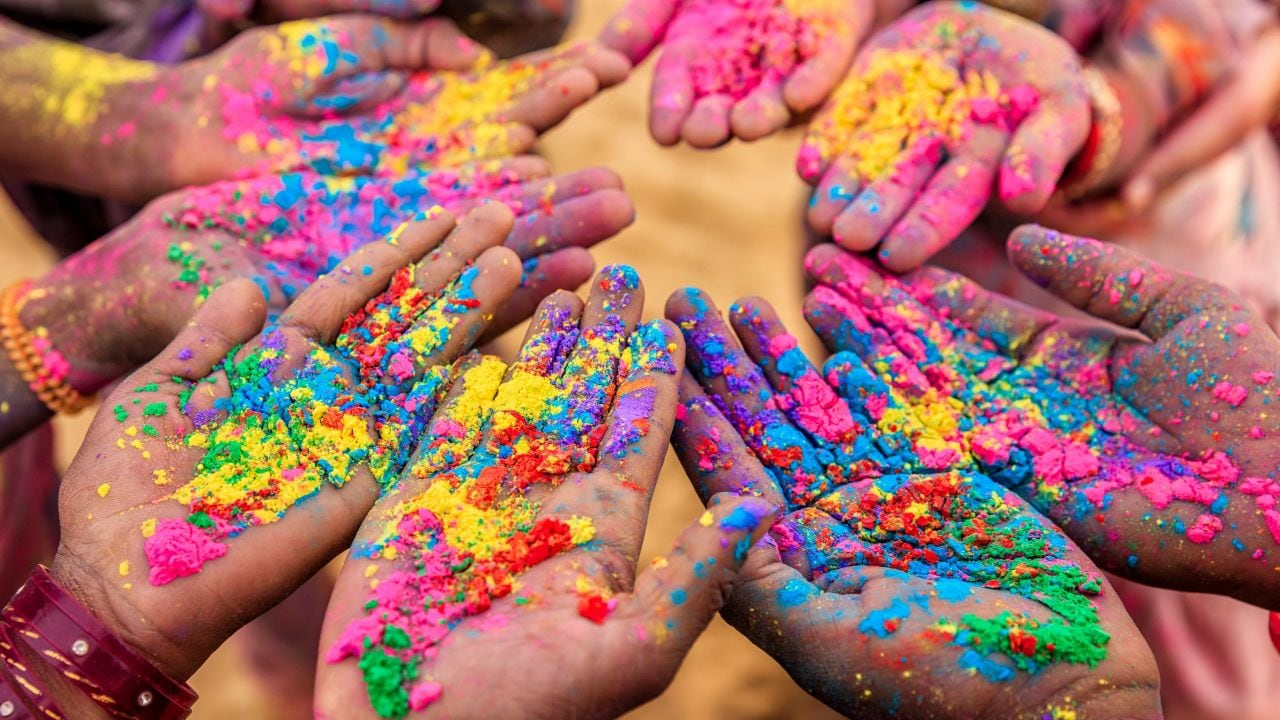 Hyatt Hyderabad | Powdered Hands at a Holi Festival