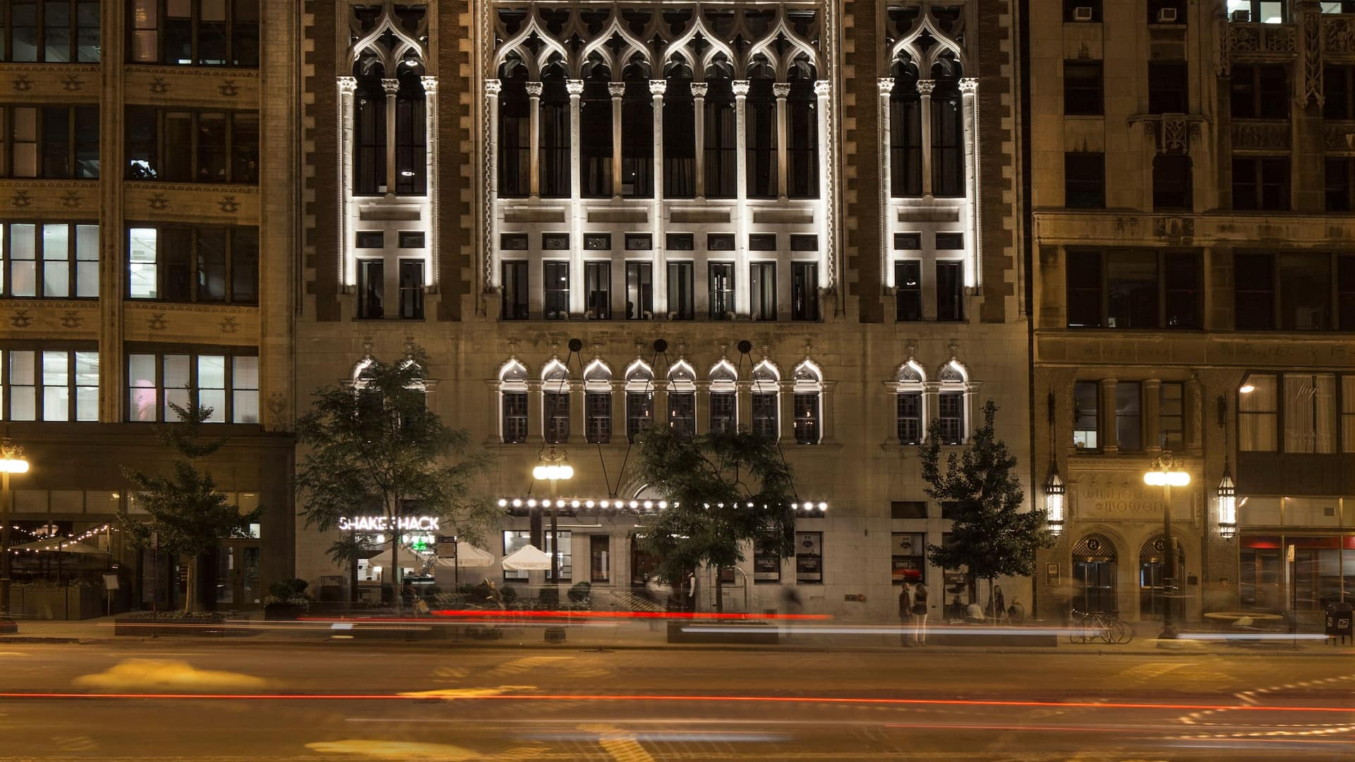 Chicago Athletic Association Exterior at Night