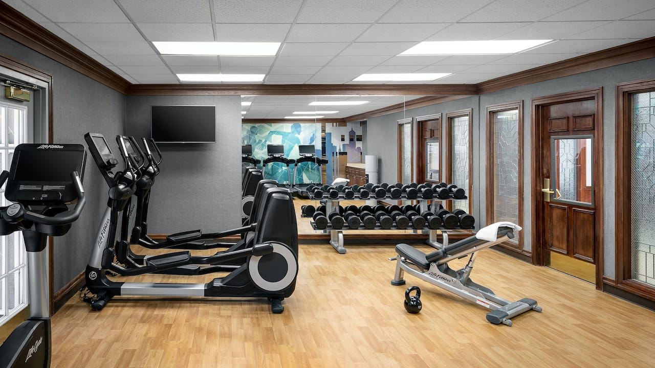 Hyatt House Scottsdale Old Town Fitness Center with machines and free weights