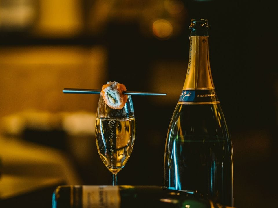 Sushi and champagne at Vox restaurant at Grand Hyatt Berlin