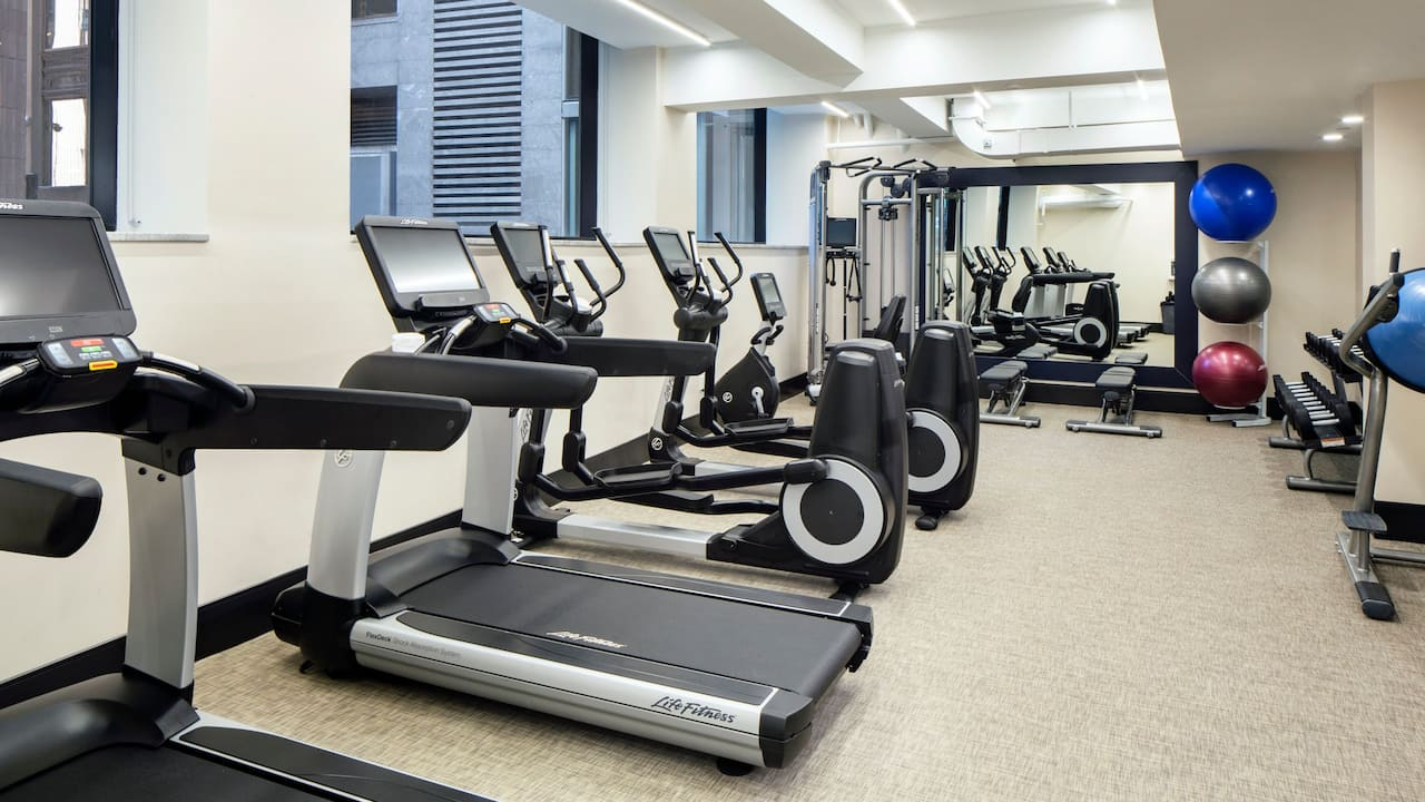 fitness center at Hyatt Centric Faneuil Hall Boston