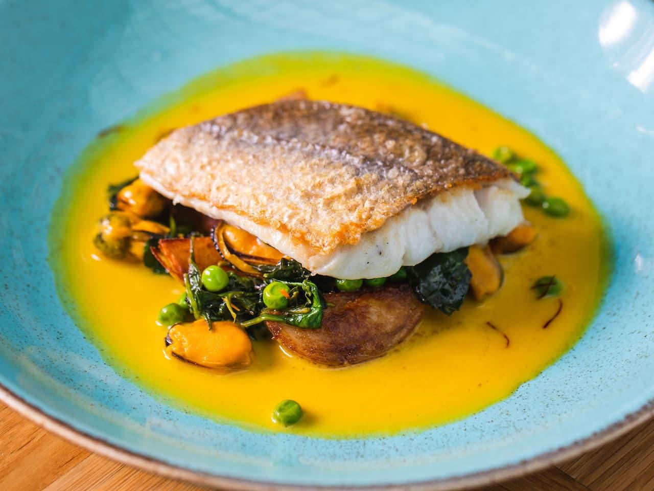Fish dish at Aria Restaurant in Birmingham city centre