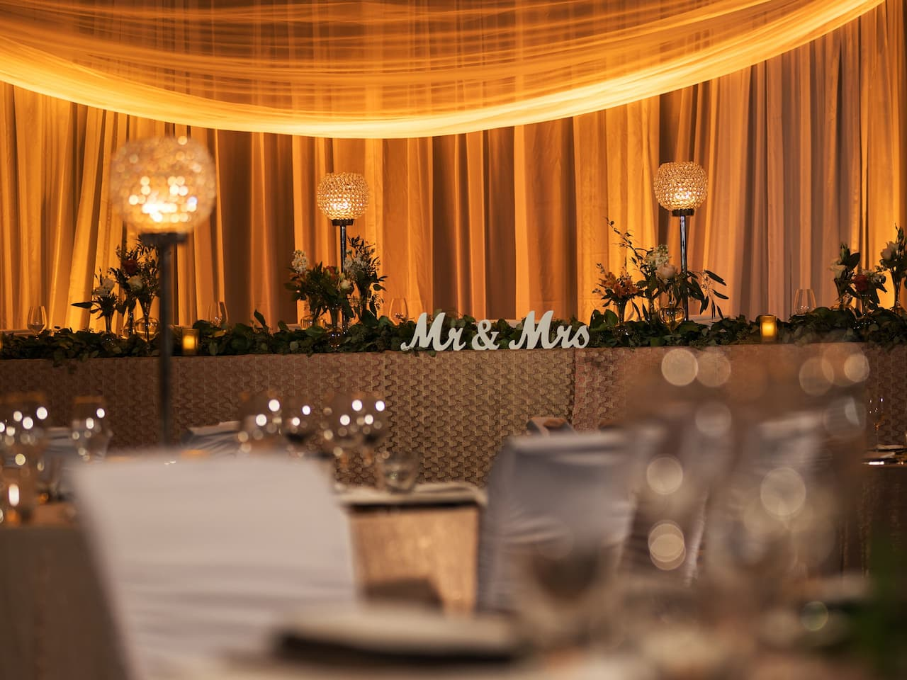Central Station Grand Ballroom Wedding Reception Head Table