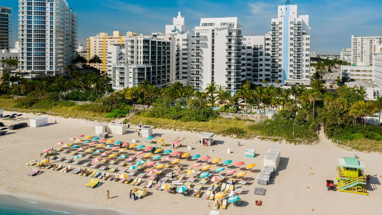 large beach area with colorful chairs in Miami Beach