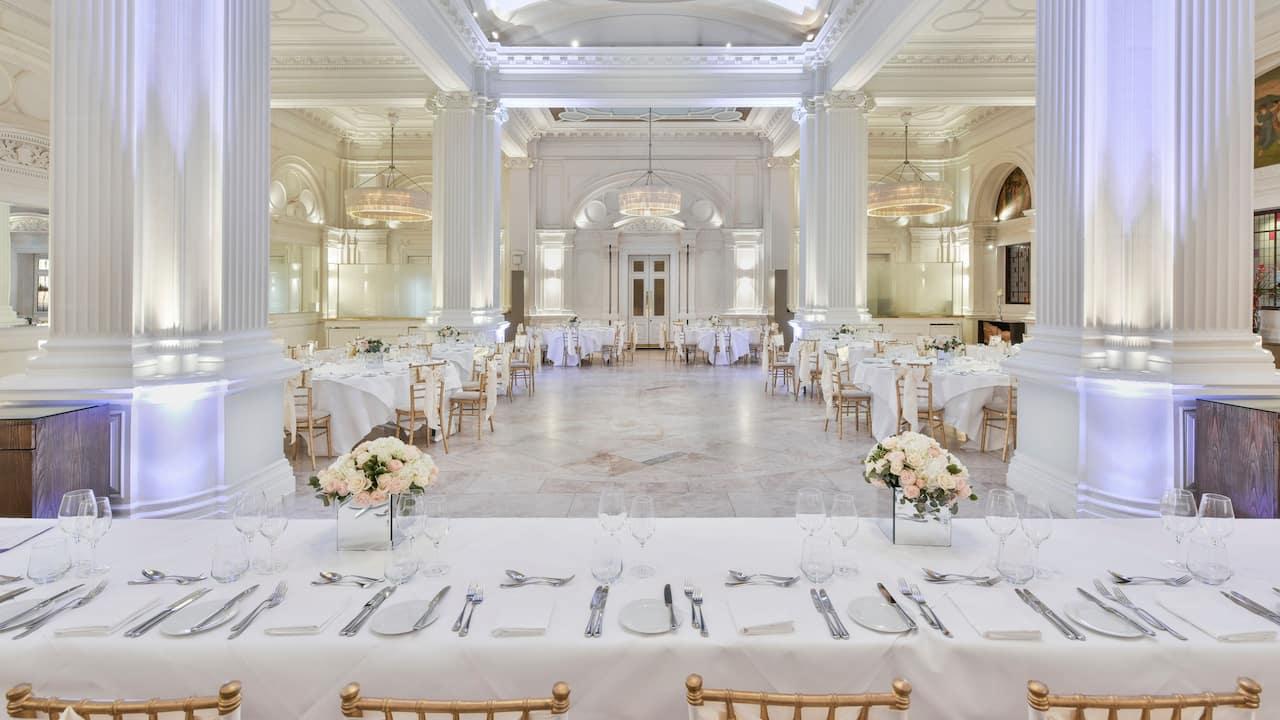 Wedding set up in 1901 Ballroom at Andaz London Liverpool Street
