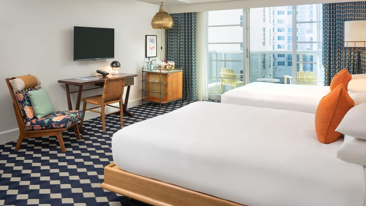 Two Queen Bed Hotel Room with Partial View The Confidante Miami Beach