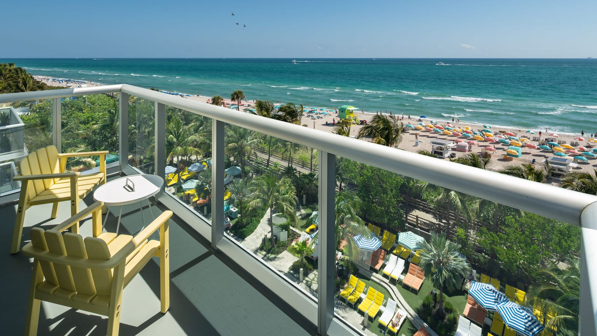 Oceanfront hotel balcony in Miami Beach