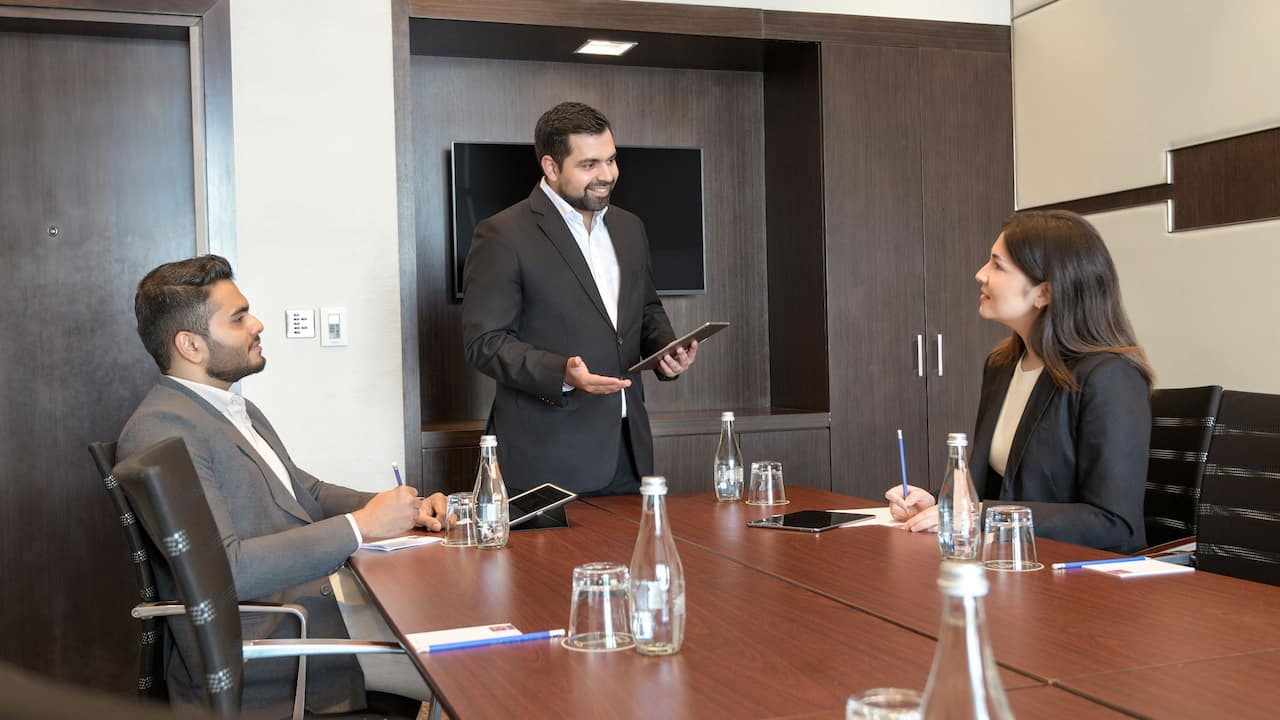 Business meeting with guests