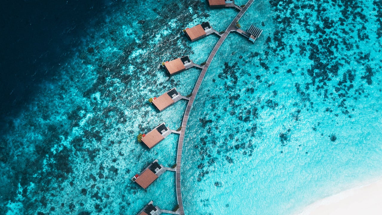 Luxury Maldives resort aerial view