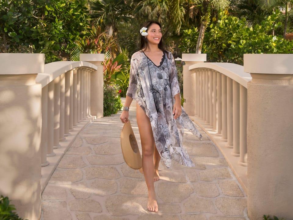 Hyatt Regency Guam Woman wandering through the resort