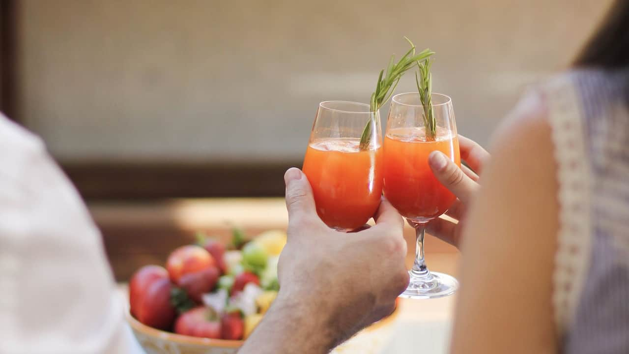 terrace couple cocktails