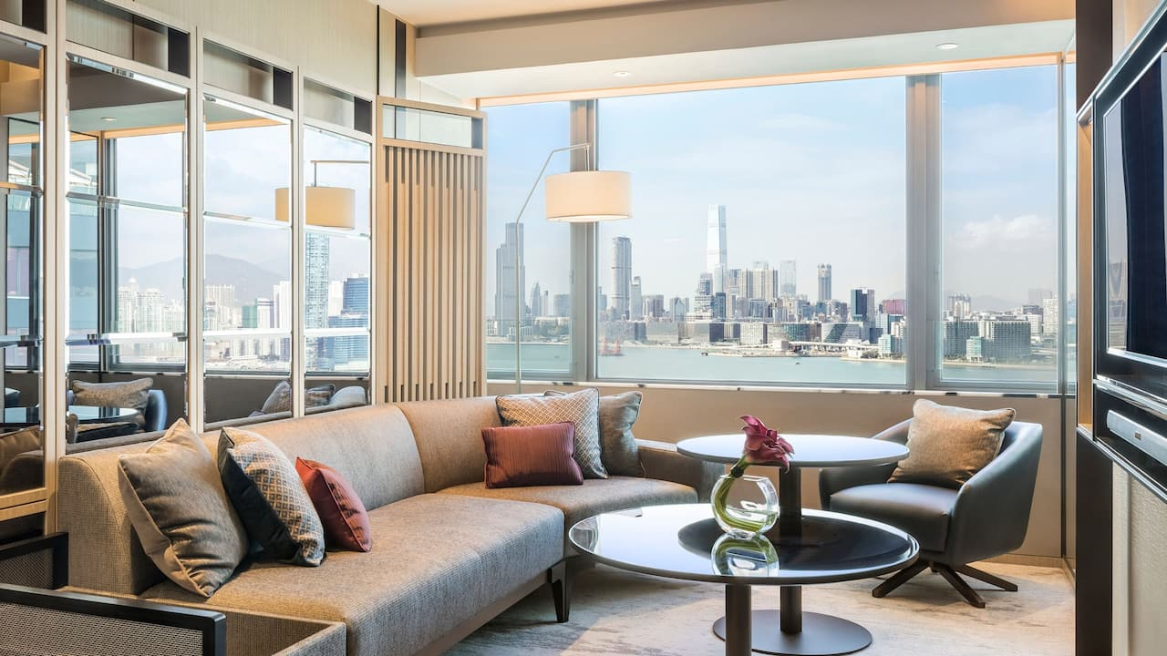 Hyatt Centric Victoria Harbour Hong Kong King Suite with 1 King Bed Living Area