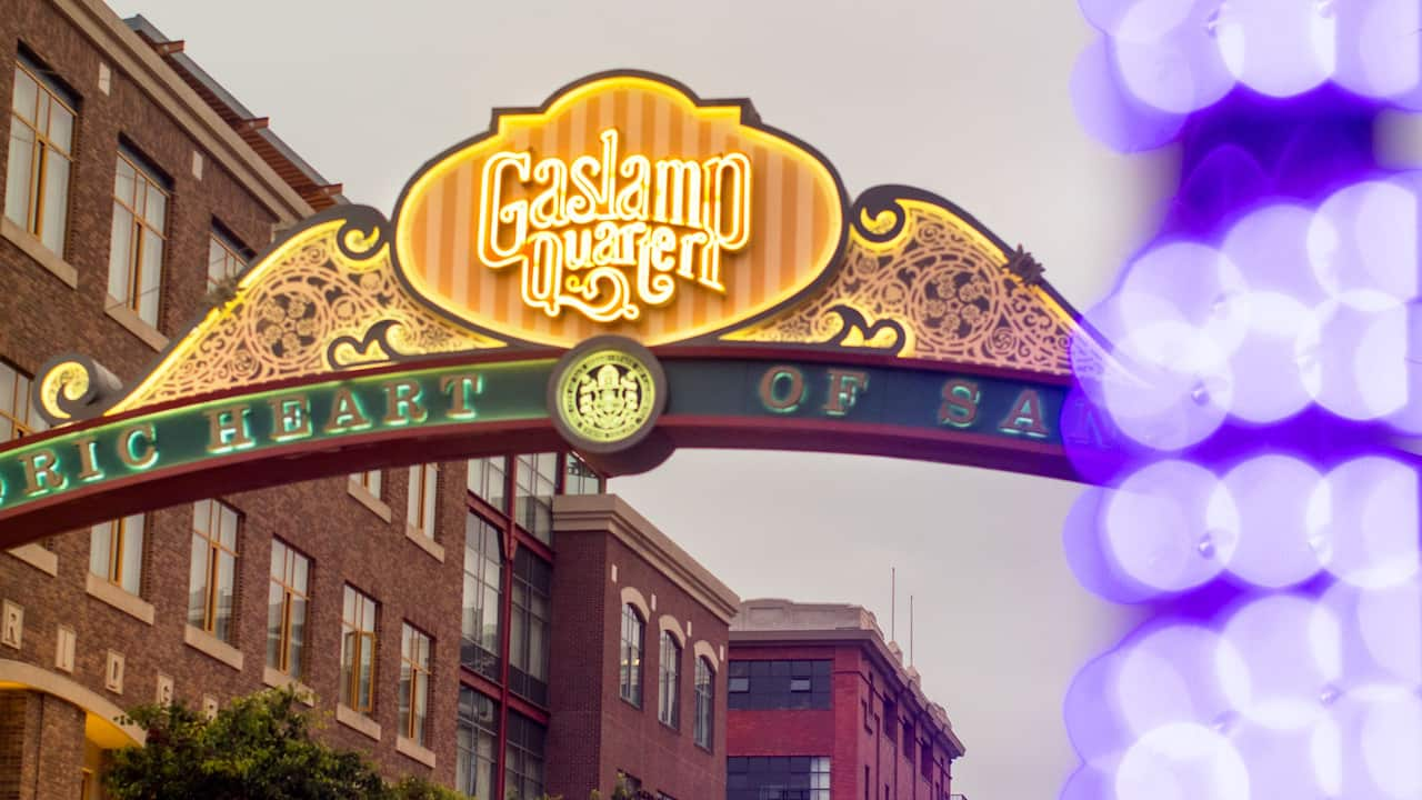 Gaslamp Sign at Night