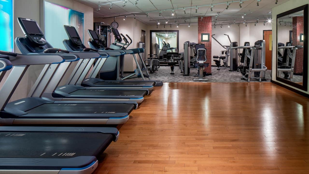 Treadmills and weight machines in the Hyatt Regency fitness center