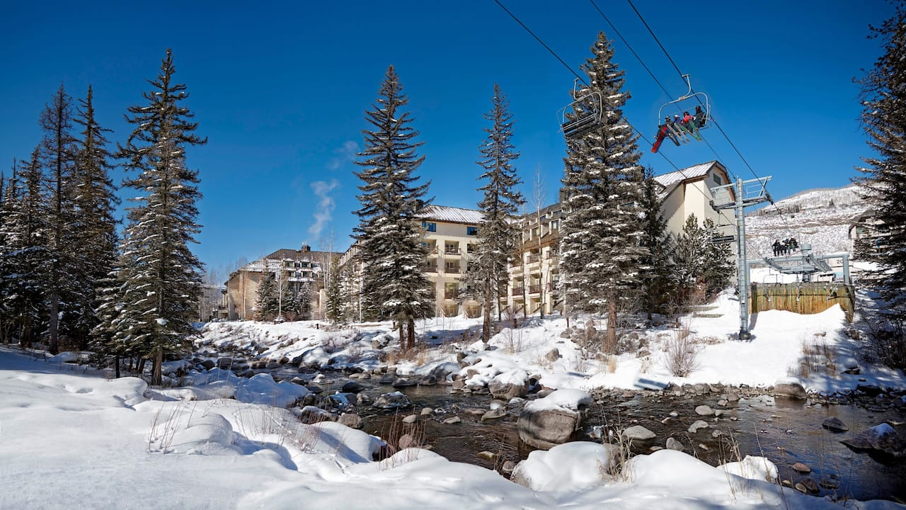 Vail Residences at Cascade Village Exterior with Ski Lift