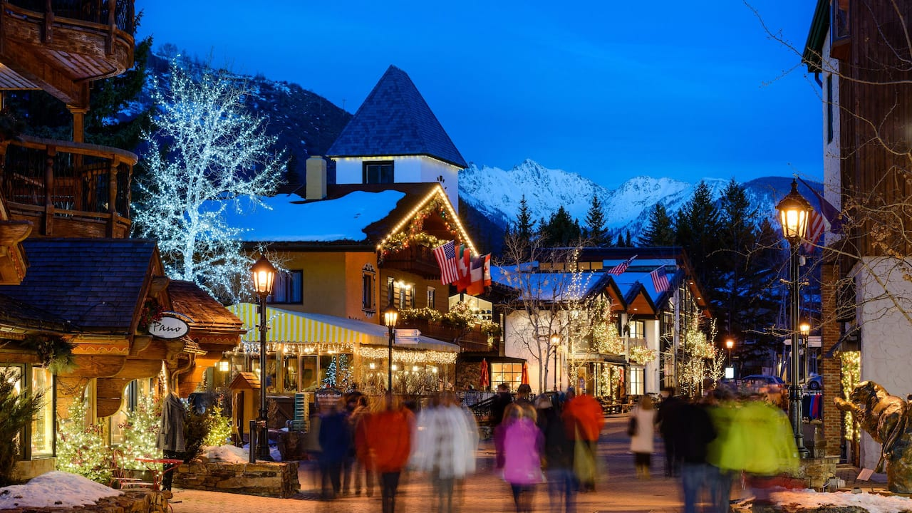 Vail Village at night winter