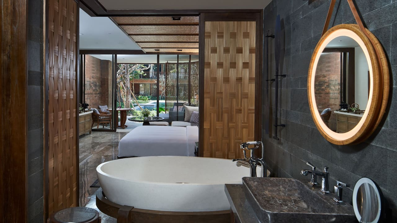Guestroom Bathub at Andaz Bali