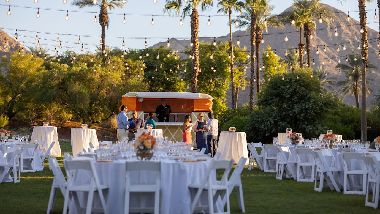 An outdoor wedding function at Palm Springs at Hyatt Regency Indian Wells Resort & Spa