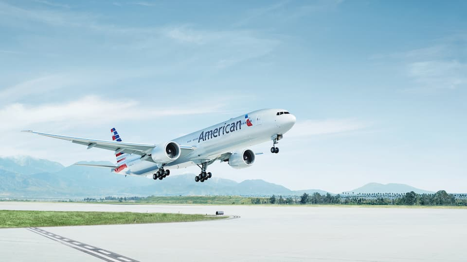 American Airlines flight taking off