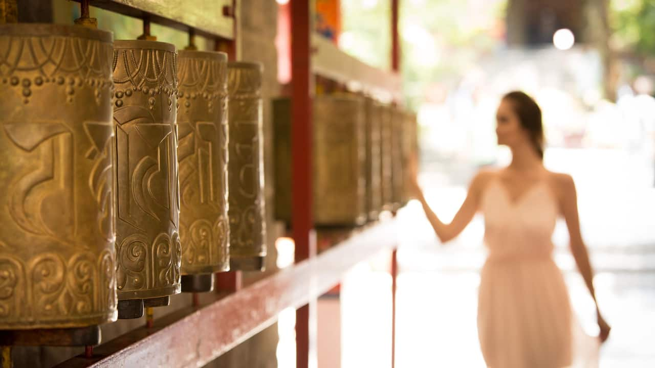 Solo Traveler Monestry Prayer Wheels