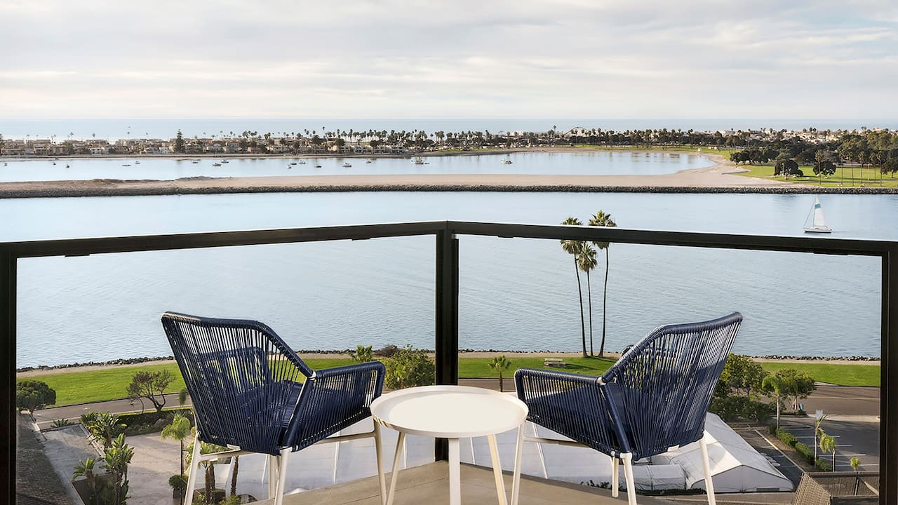 Hotel balcony overlooking Mission Bay Marina in San Diego