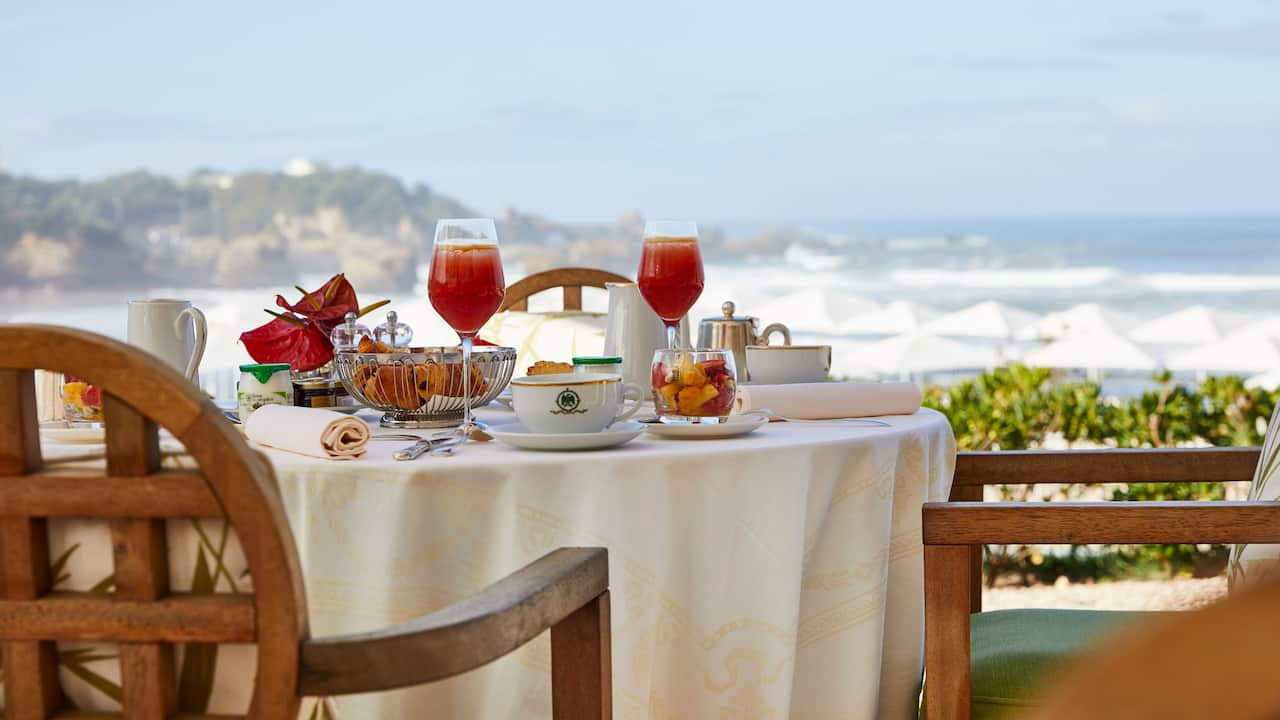 Terrace overlooking the ocean at Hotel du Palais