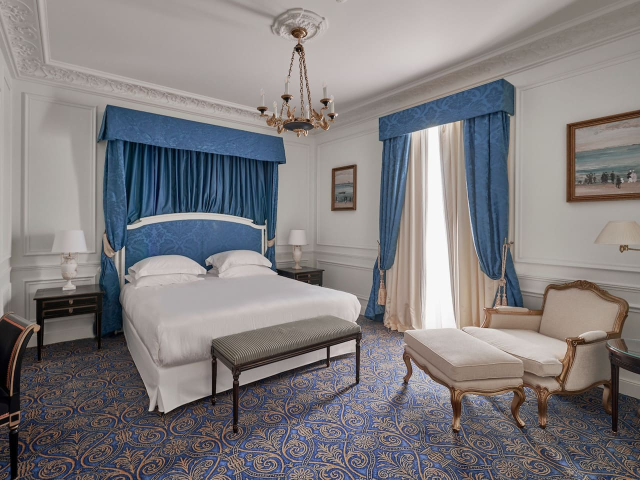 King Royal Suite Bedroom with Ocean View at Hotel du Palais Biarritz