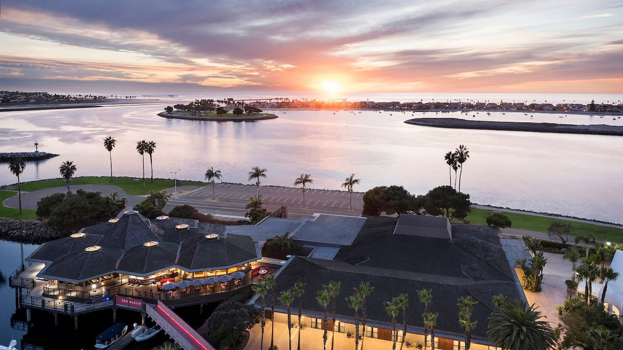 Outdoor dining area overlooking Mission Bay Marina