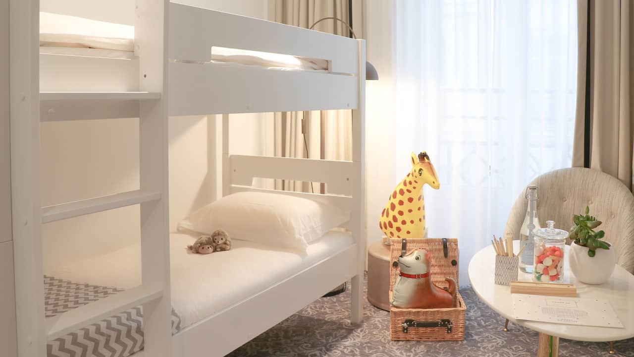 Bunked Bed at Hotel du Louvre in the Unbound Collection by Hyatt Family Suite