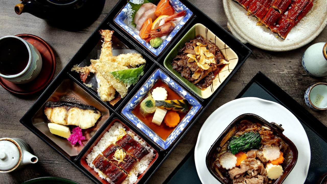 Sumire bento box food menu, Hyatt restaurants Jakarta