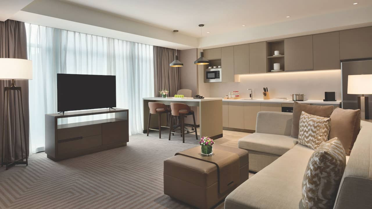 Two bedroom kitchen suite with king bed and two twin beds