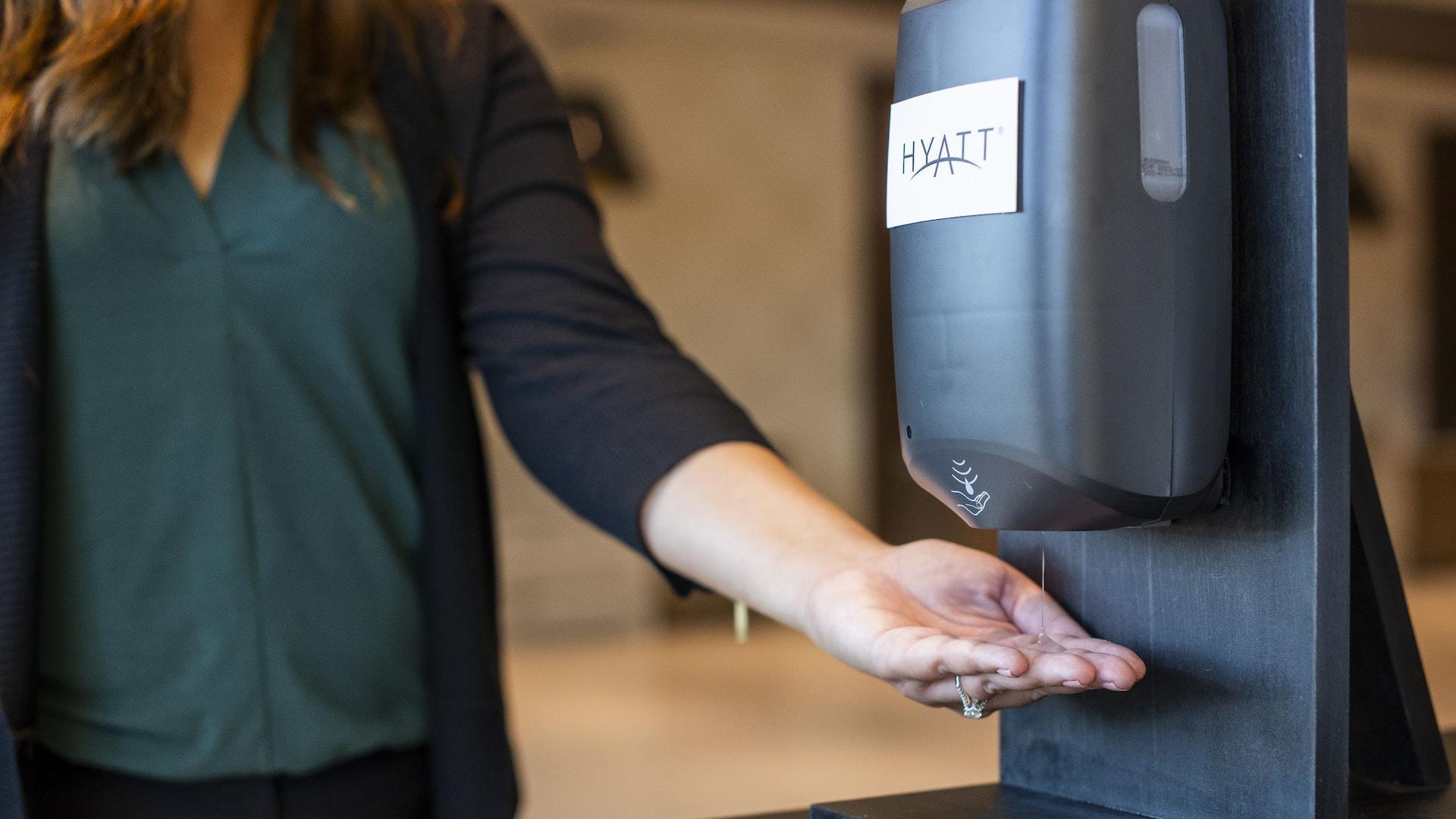 Hand sanitizing station at Hyatt Regency Lake Washington