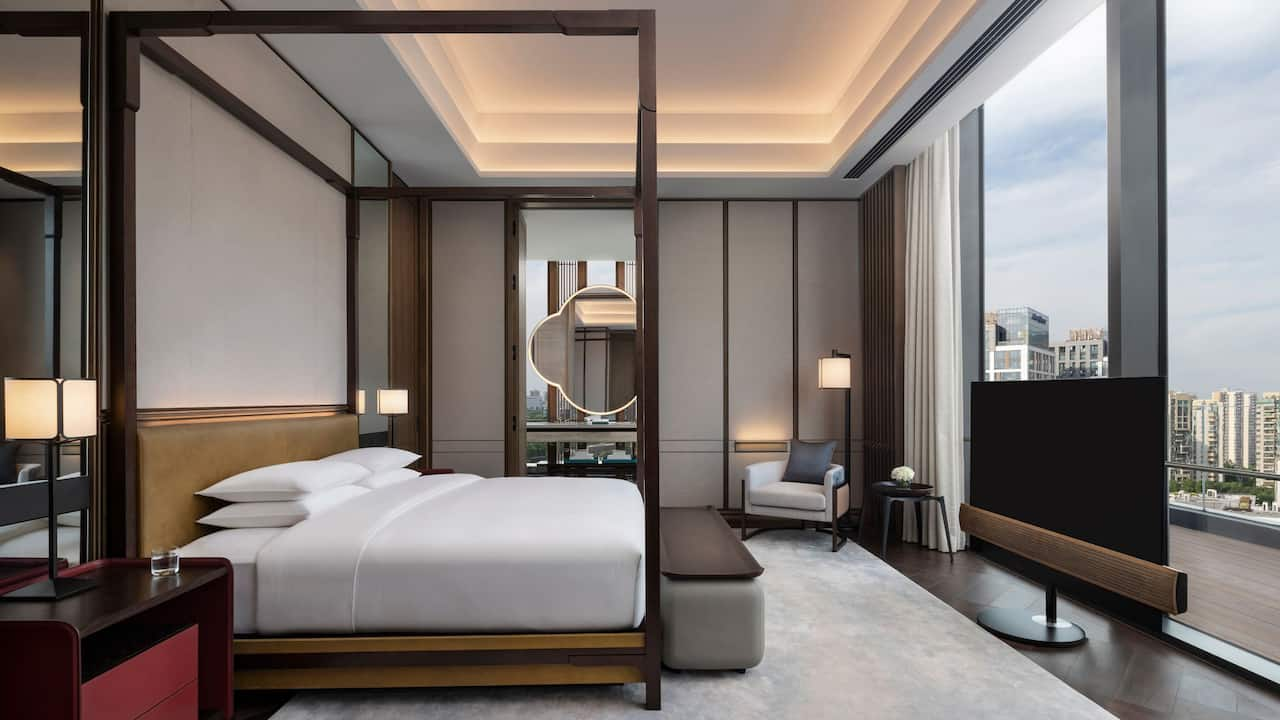 Presidential Suite Bedroom at Park Hyatt Suzhou