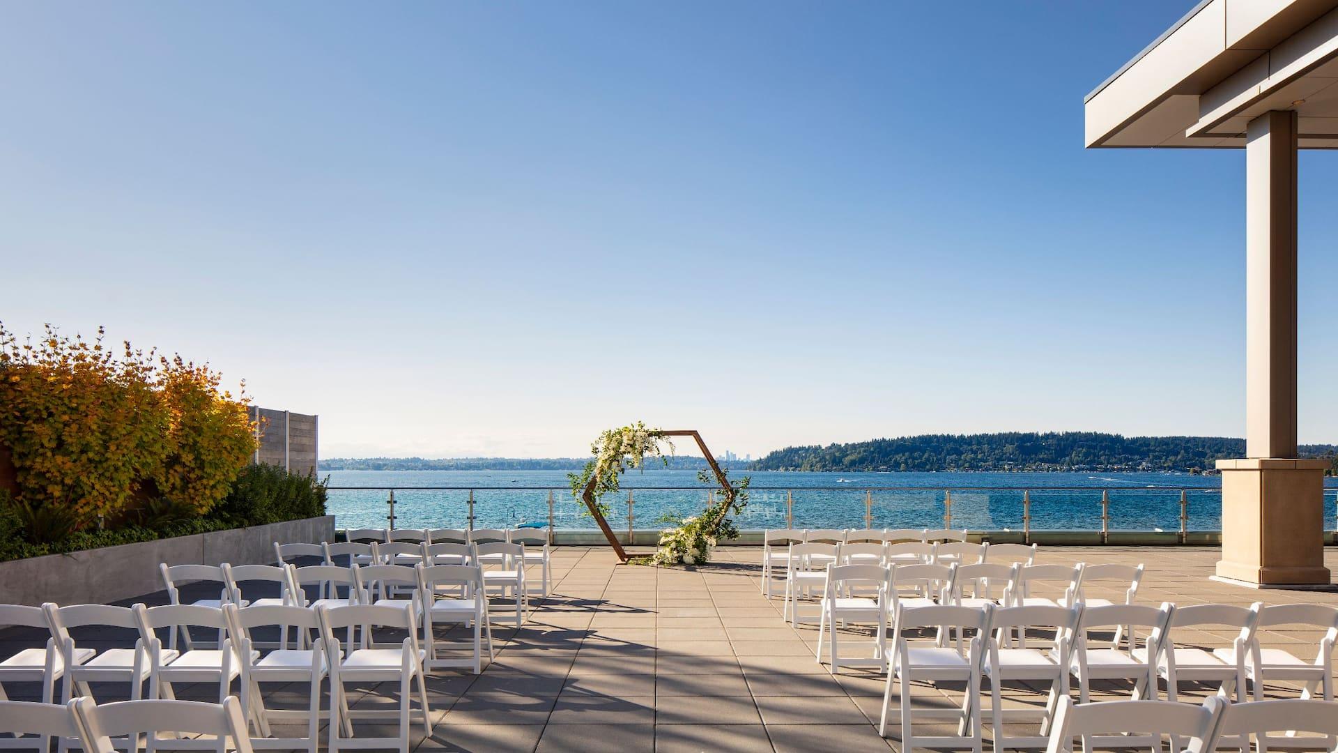 Wedding Ceremony on Olympic Terrace at Hyatt Regency Lake Washington