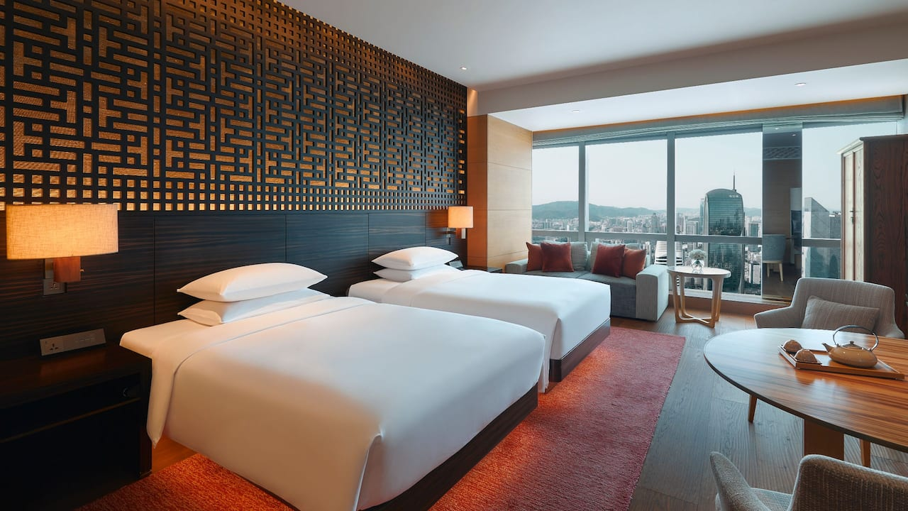 Twin Bed Park View Room Day at Park Hyatt Guangzhou
