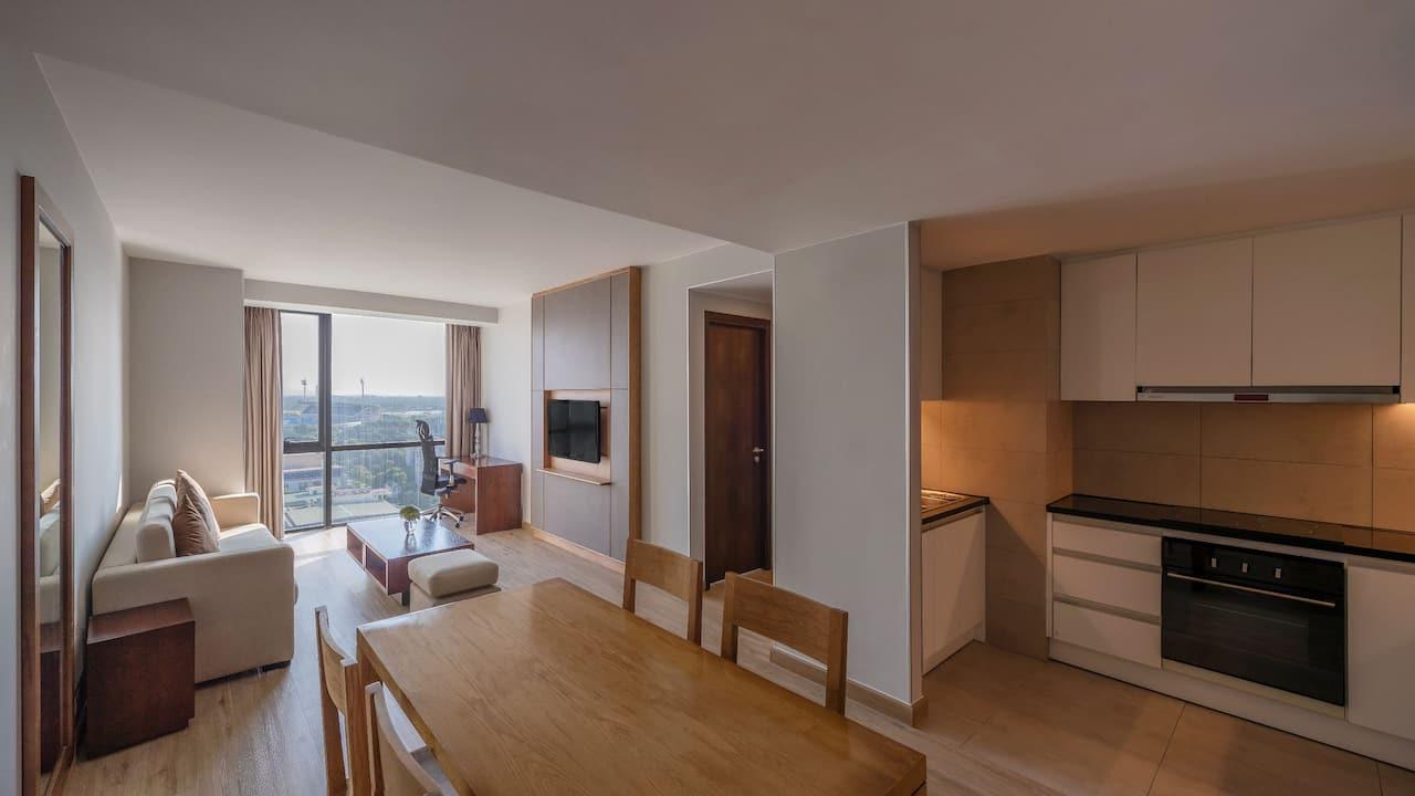 Two Bedroom Suite with Kitchenette Living Area hotel suite at Hyatt Regency West Hanoi