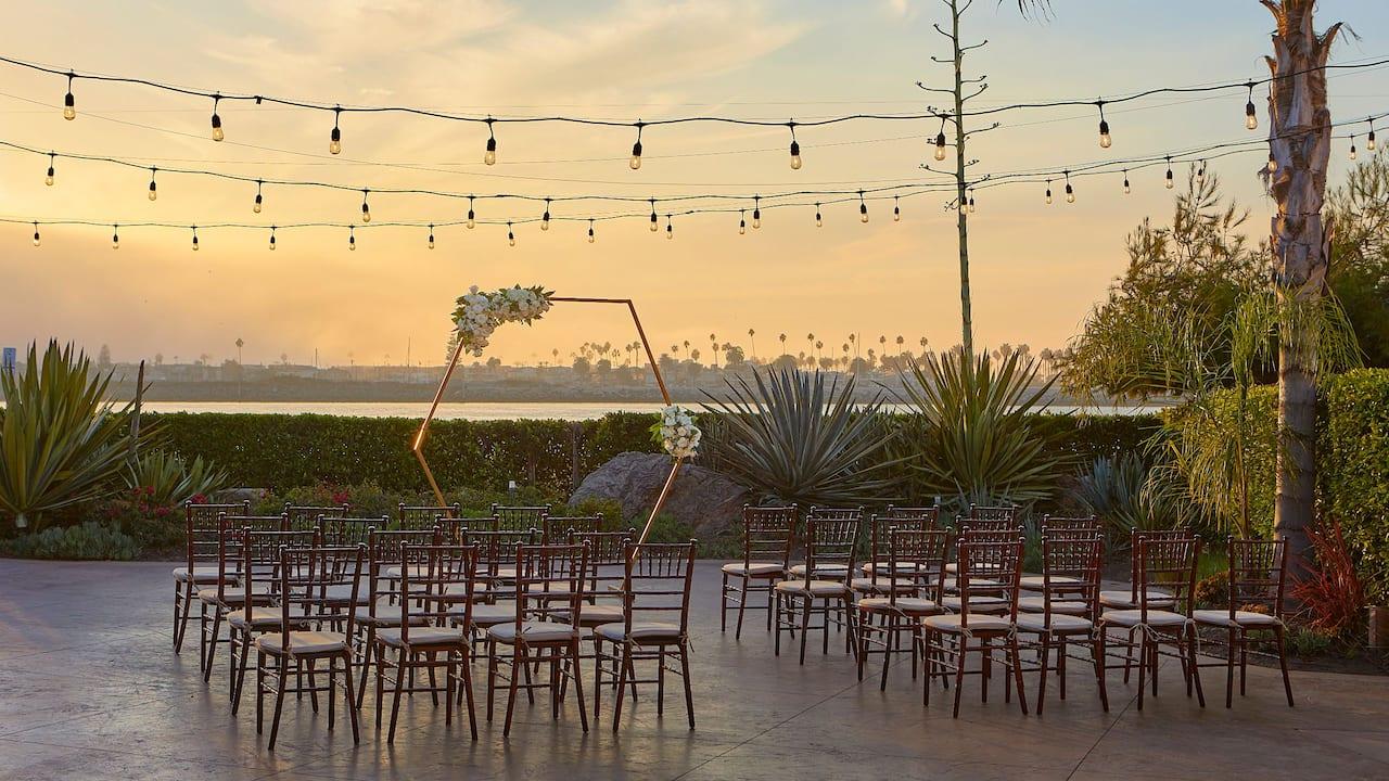 Outdoor wedding venue at a Mission Bay hotel near Seaworld San Diego