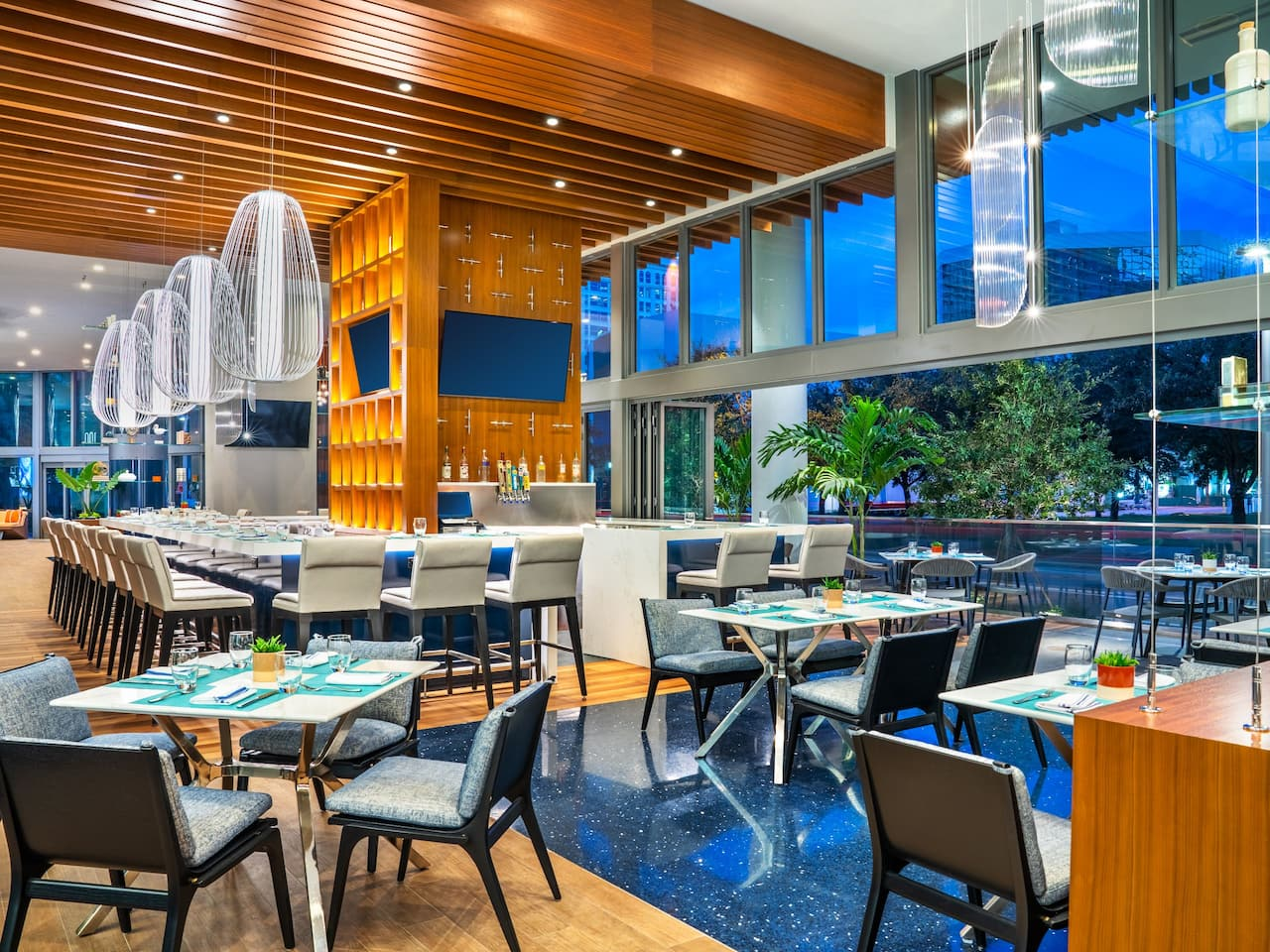 Dining and Bar Set Up at Harborwood Restaurant Inside Hyatt Centric Las Olas/Fort Lauderdale