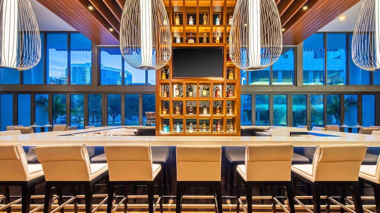 Overview of The Bar at Harborwood Restaurant Inside Hyatt Centric Las Olas/Fort Lauderdale