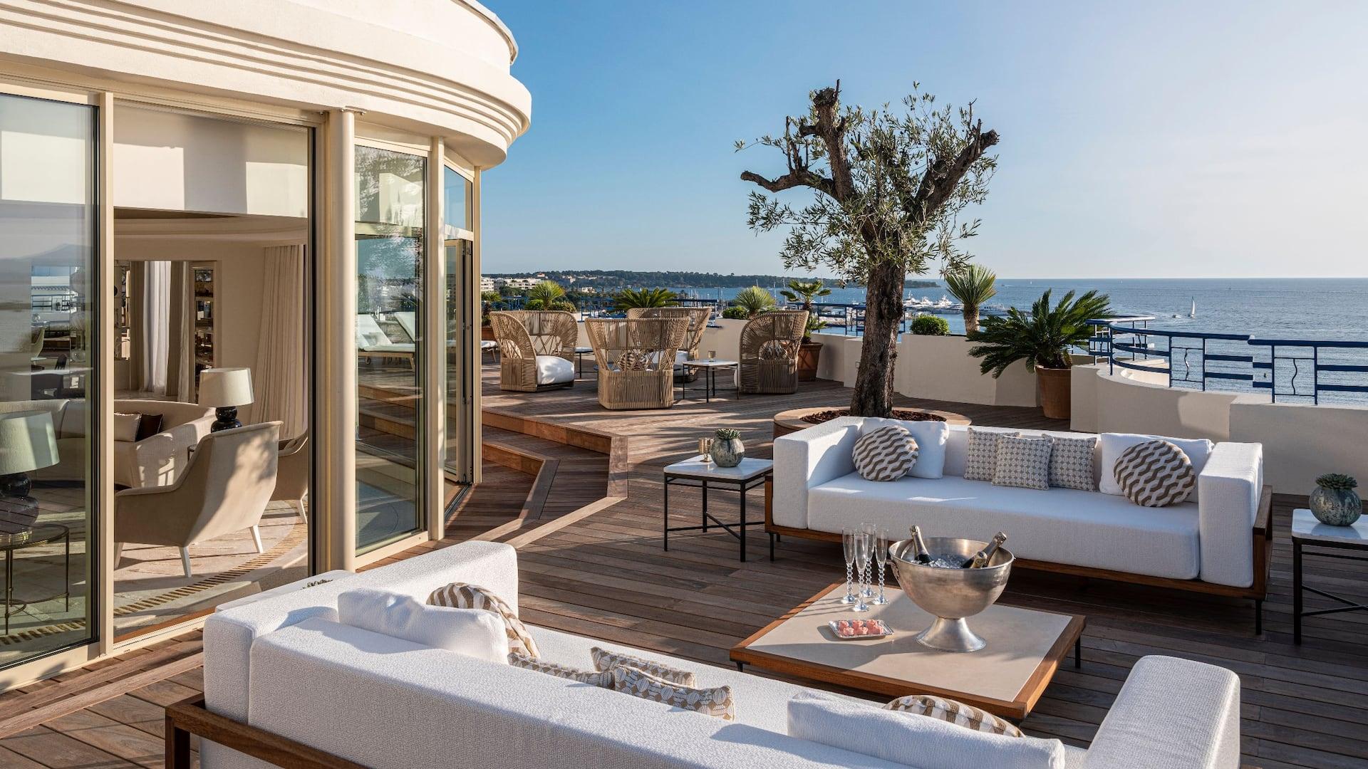 Vue de la Penthouse à l'Hôtel Martinez à Cannes