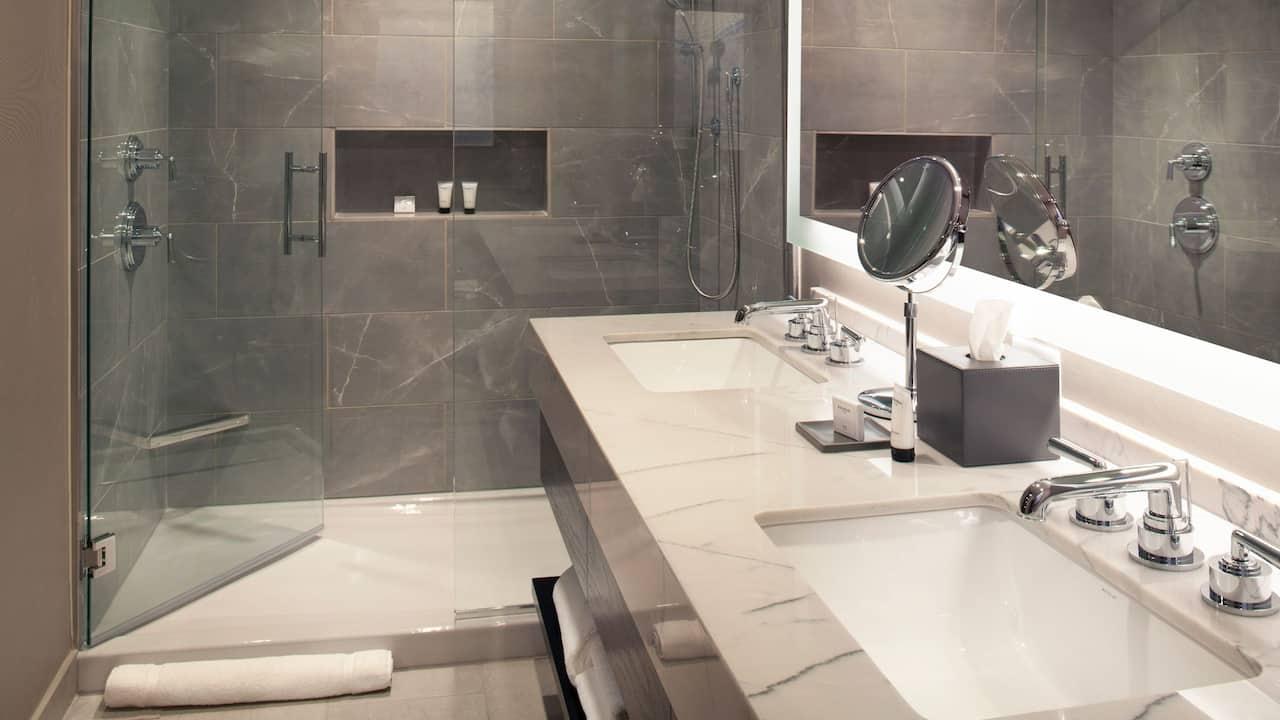 Bathroom of a hotel suite in Nashville, TN near The Gulch