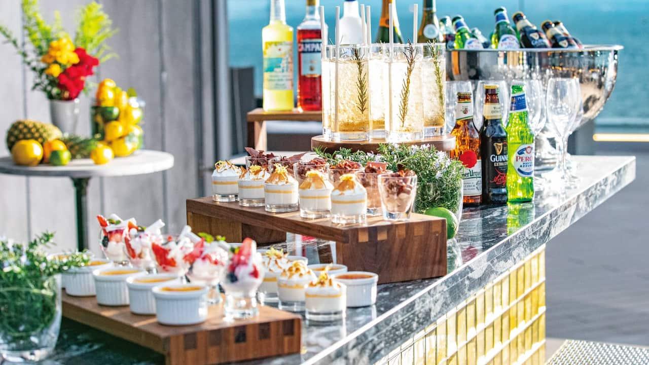 Rooftop Bar Drinks Setup