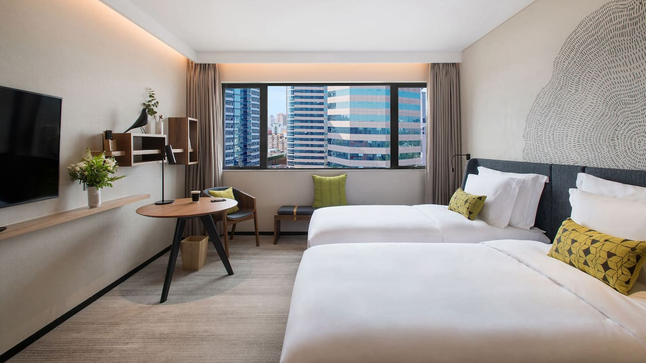 Twin room with Sanlitun city view