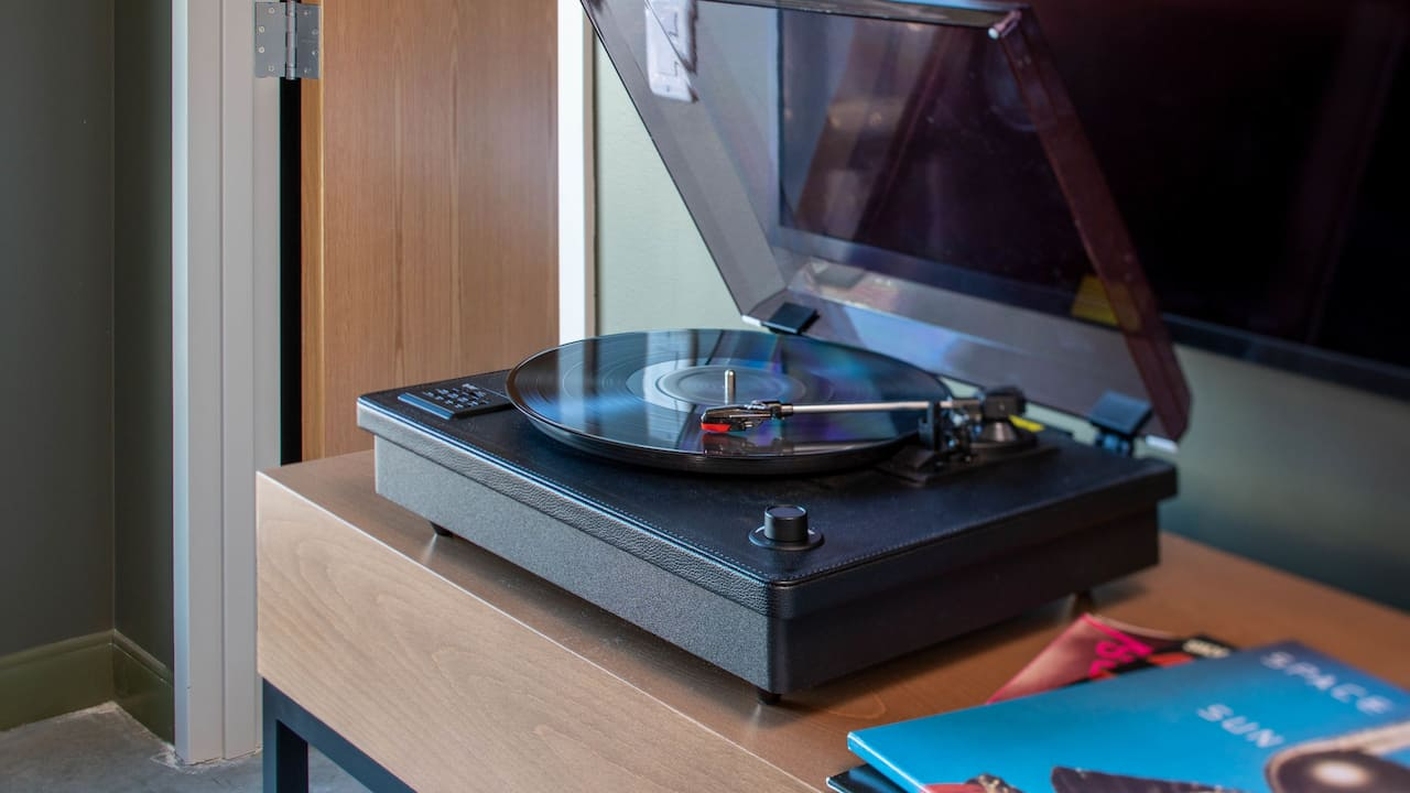 Record player in a boutique hotel suite in downtown Portland